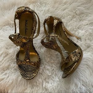 Michael Antonio Gold Yellow Snake Print Heels